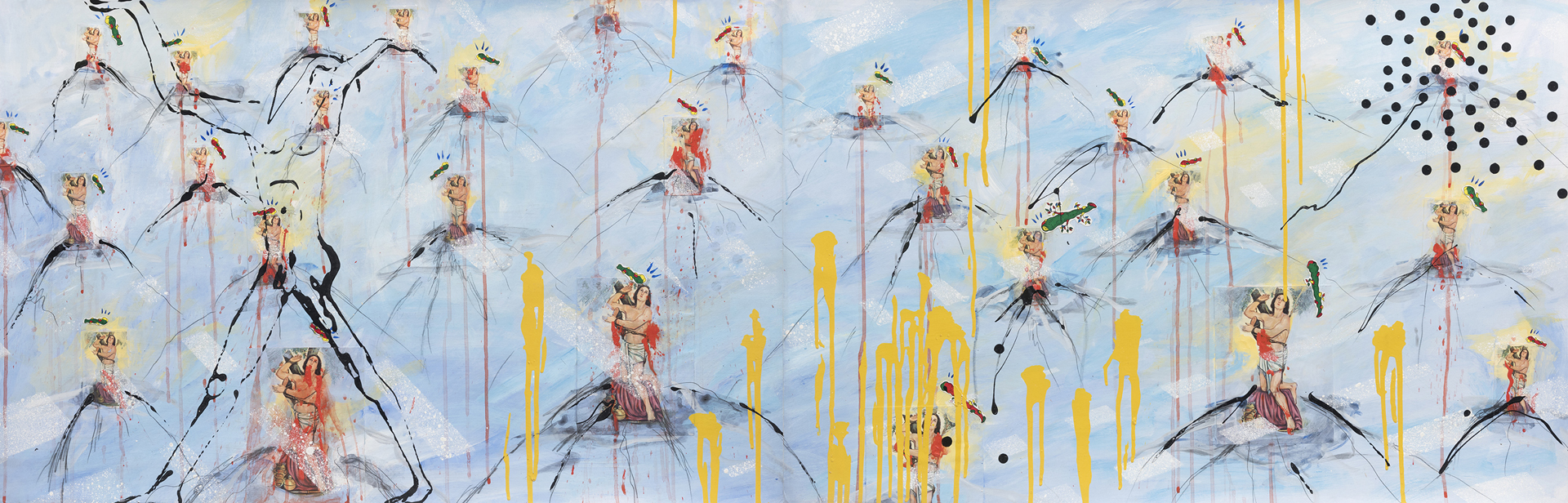 Sin título, 1988 Acrílico, collage y grafito sobre papel, 65 x 200 cm. Acervo Alfredo Londaibere. (Gonzalo Maggi)