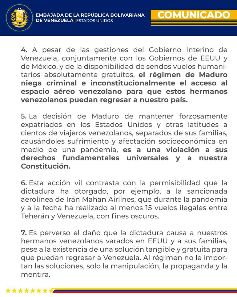 Una parte del comunicado emitido contra la decisión del régimen de Nicolás Maduro de bloquear el regreso de venezolanos varados en los Estados Unidos