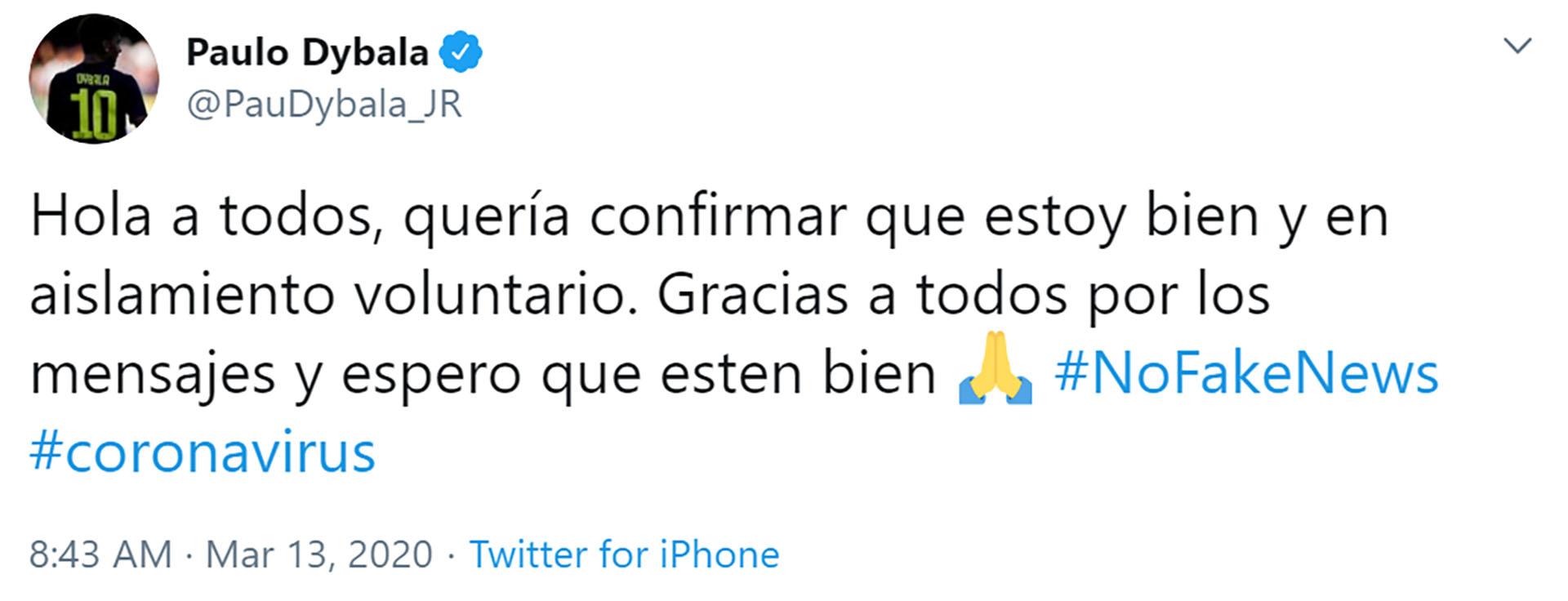 La publicación de Paulo Dybala