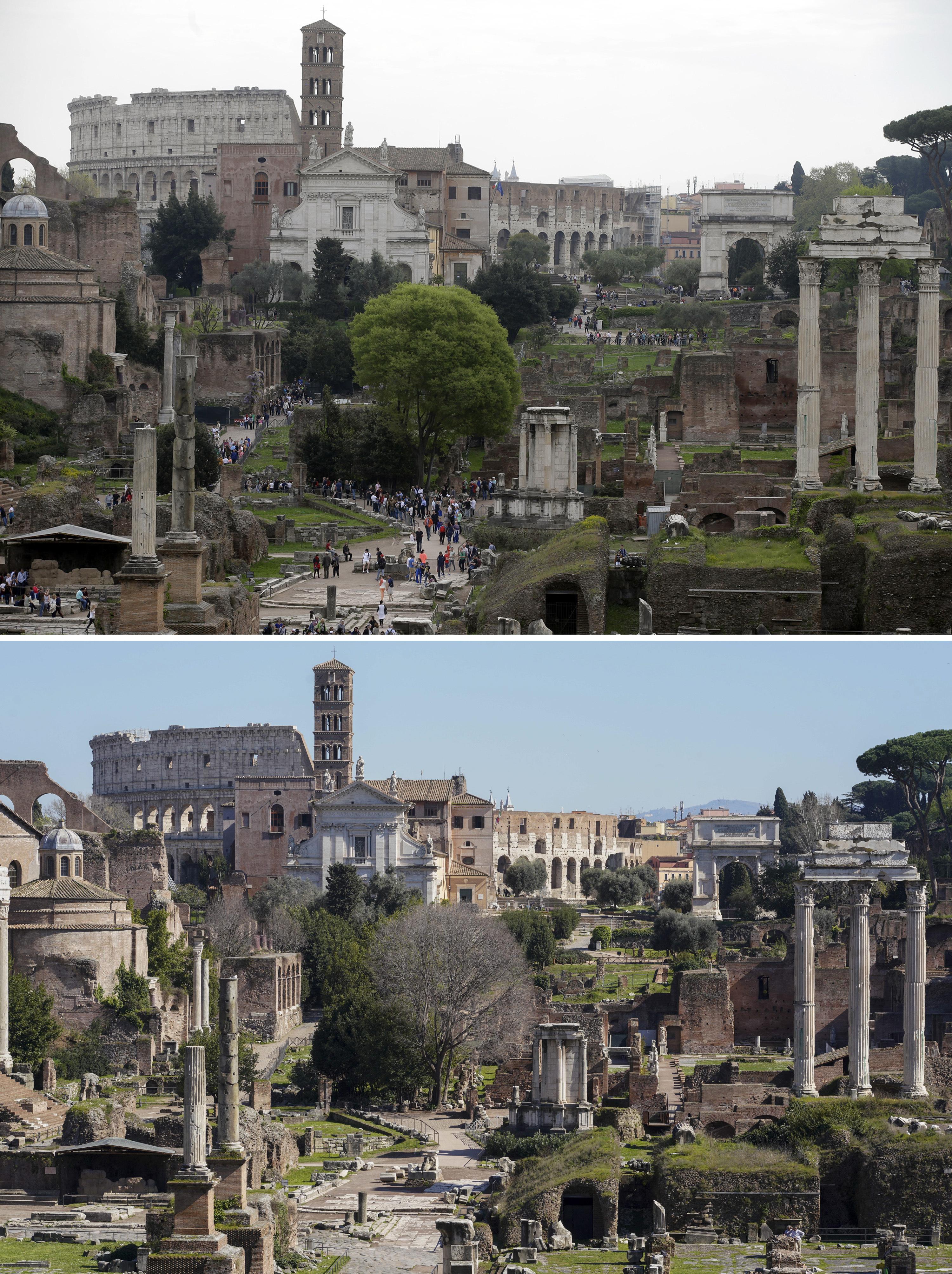 ARCHIVO - En esta imagen combinada, turistas visitando el antiguo Foro de Roma y el Colíseo, en Roma, a las 18:23 del viernes 17 de abril de 2015, arriba, y a las 13:00 del miércoles 11 de marzo de 2020. (AP Foto/Gregorio Borgia/Andrew Medichini)