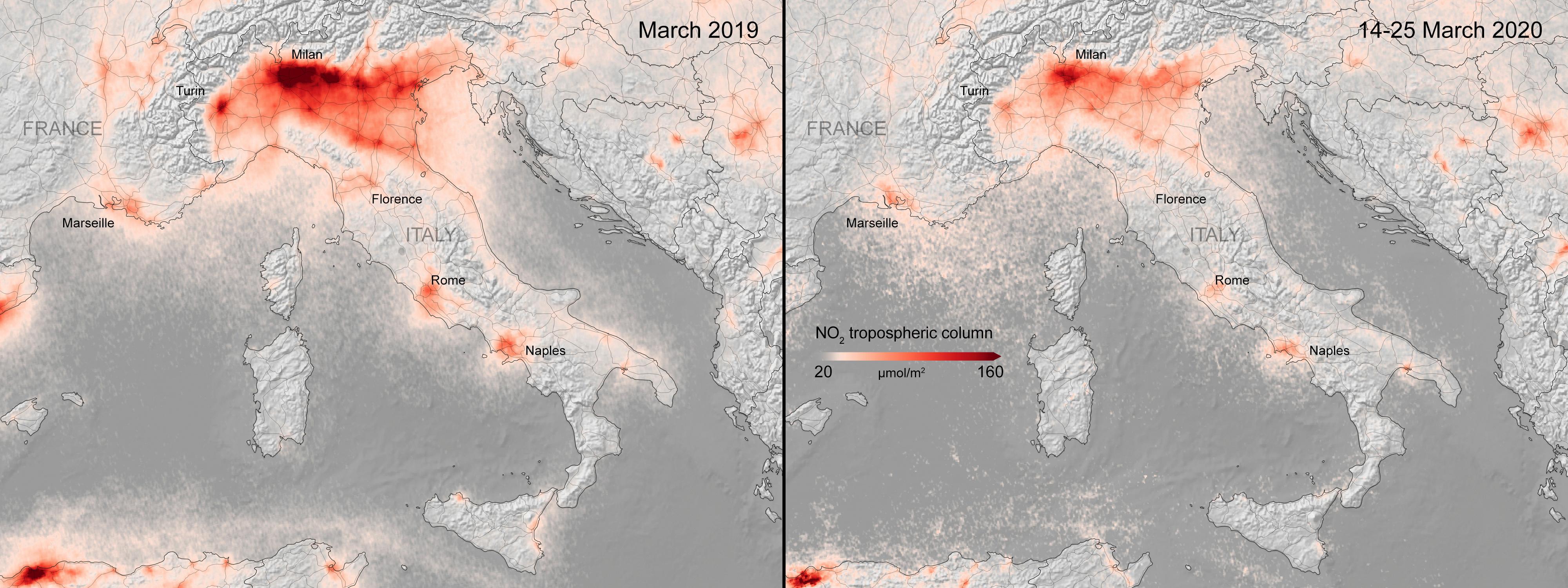 Dos imágenes de Italia tomadas por la Agencia Espacial Europea, de 2019 y 2020, muestran cómo se redujo la contaminación por el paro económico que causó el COVID-19 (ESA/ Handout vía Reuters)