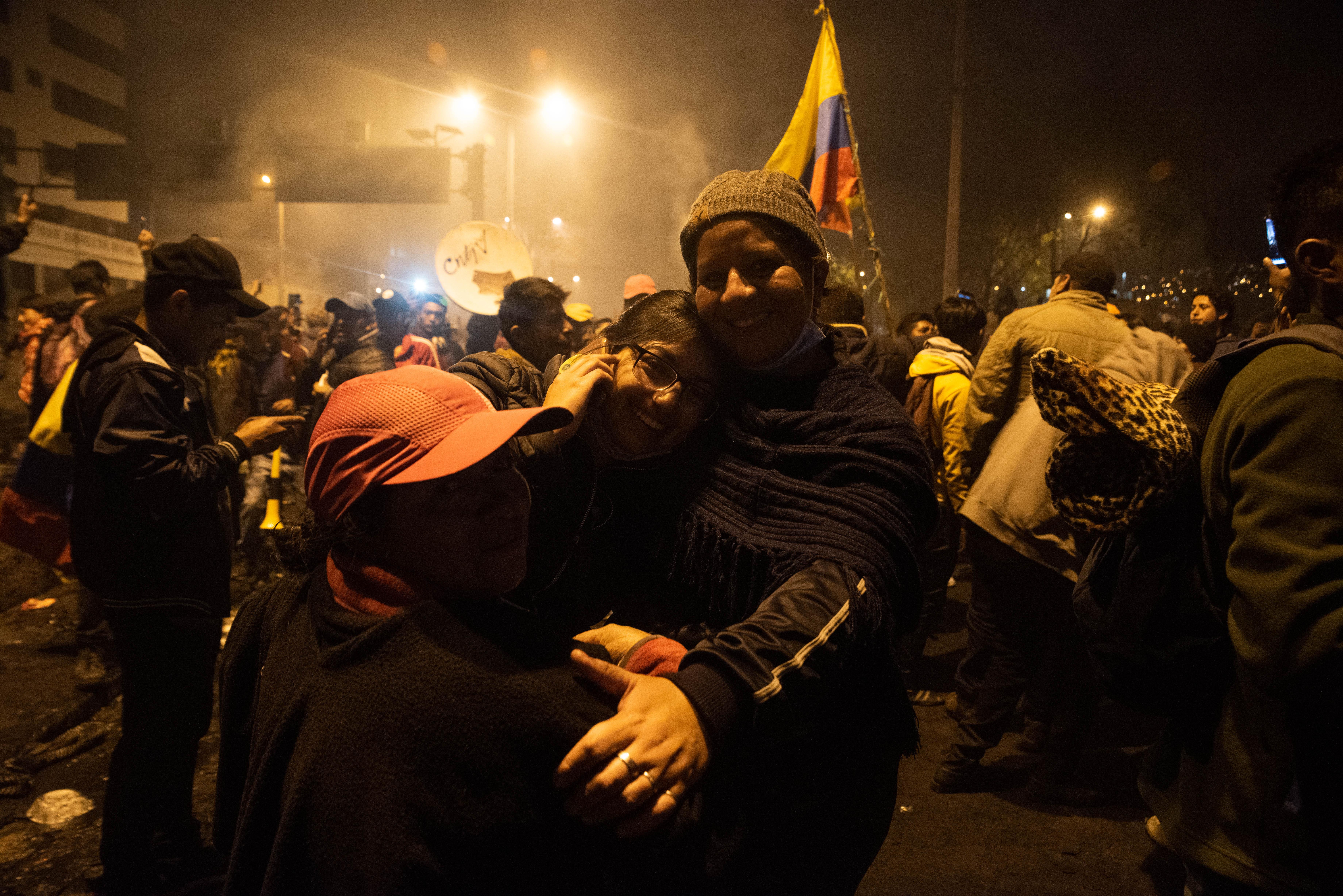 Familias enteras salieron a celebrar el anuncio del presidente Lenin Moreno