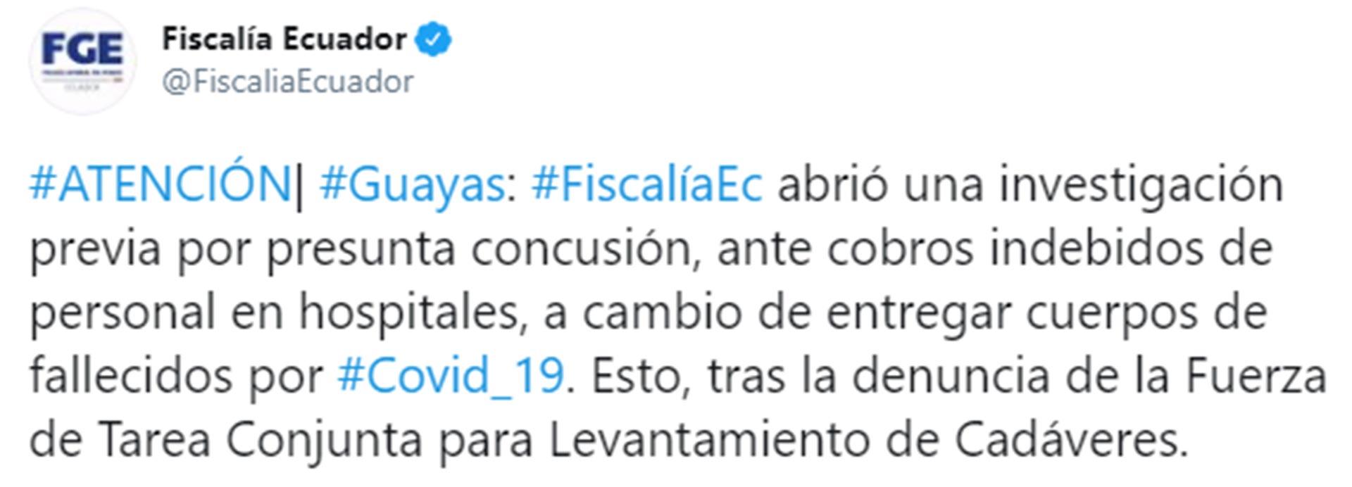 El tuit de la Fiscalía de Ecuador