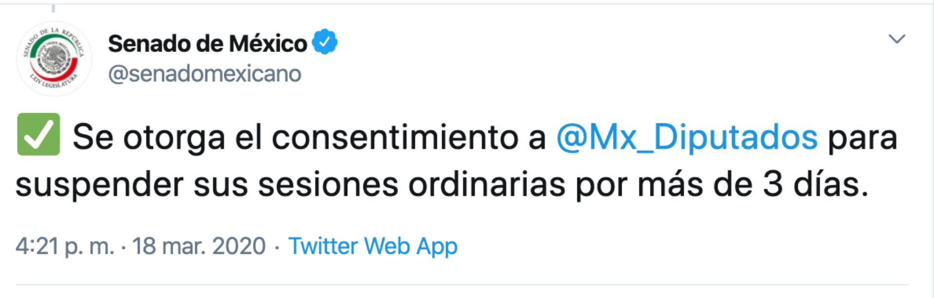 (Foto: Twitter @senadomexicano)