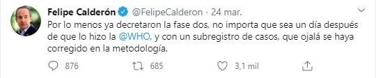 Felipe Calderón polarizó más la discusión en Twitter por sus criticas a la actual administración federal (Foto: Tiwtter@FelipeCalderon)