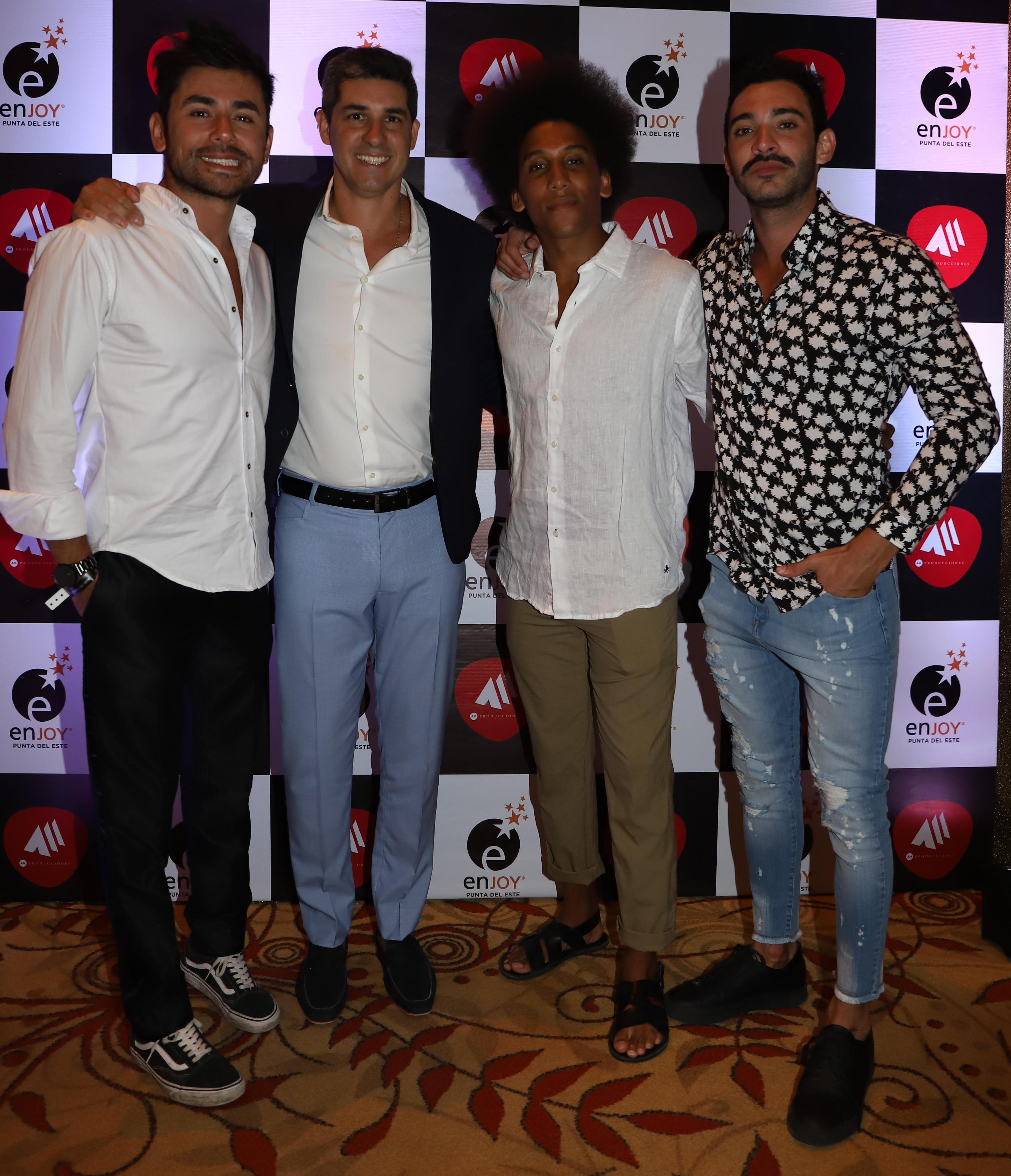 Javier Azcurra, director y RRPP de Enjoy Punta del Este, junto a Emanuel García, Ignacio Sureda y Daniel Pacheco