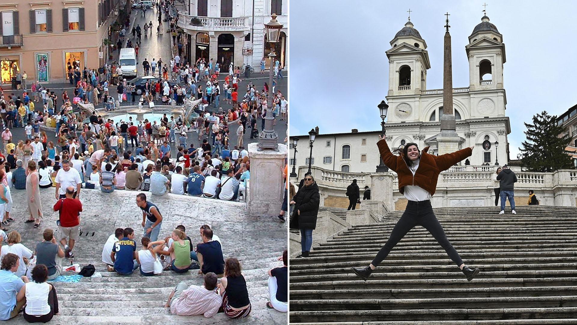 Escaleras de la Plaza de España, en Roma
