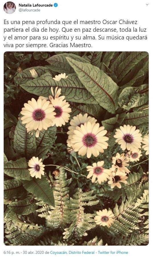Con flores fue como Natalia Lafourcade recordó al artista (Foto: Twitter@lafourcade)