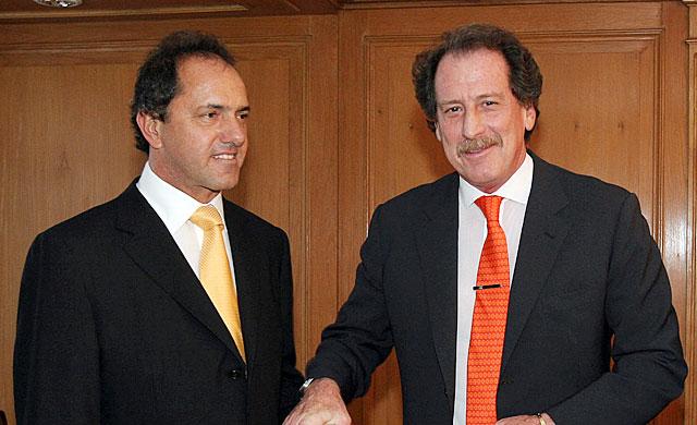 Junto al ex Vicepresidente, ex gobernador de la provincia de Buenos Aires y actual embajador argentino en Brasil, Daniel Scioli