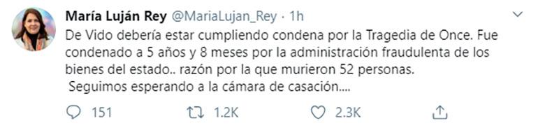 El tuit de la diputada nacional María Luján Rey