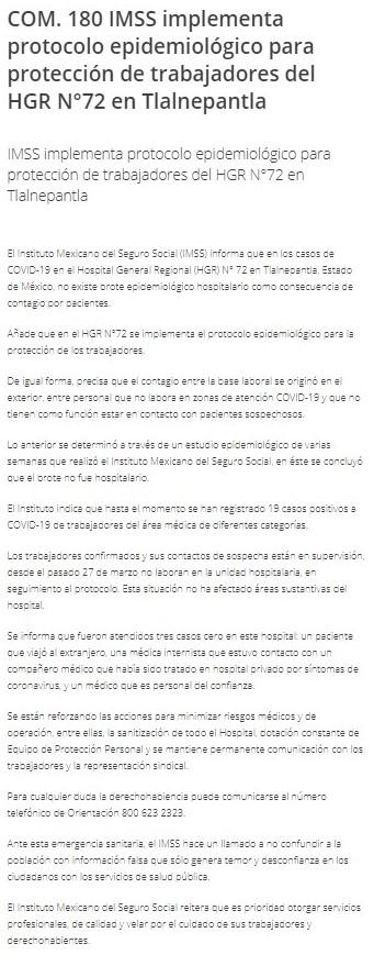 Comunicado IMSS (Foto: IMSS)