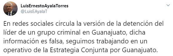 """El secretario de Gobernación de Guanajuato negó los hechos sobre un posible operativo contra """"El Marro"""" (Foto: Twitter/LuisEAyalaT)"""