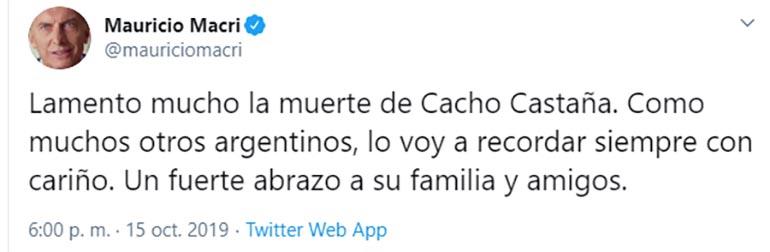 El tuit de Mauricio Macri lamentando la muerte de Cacho Castaña