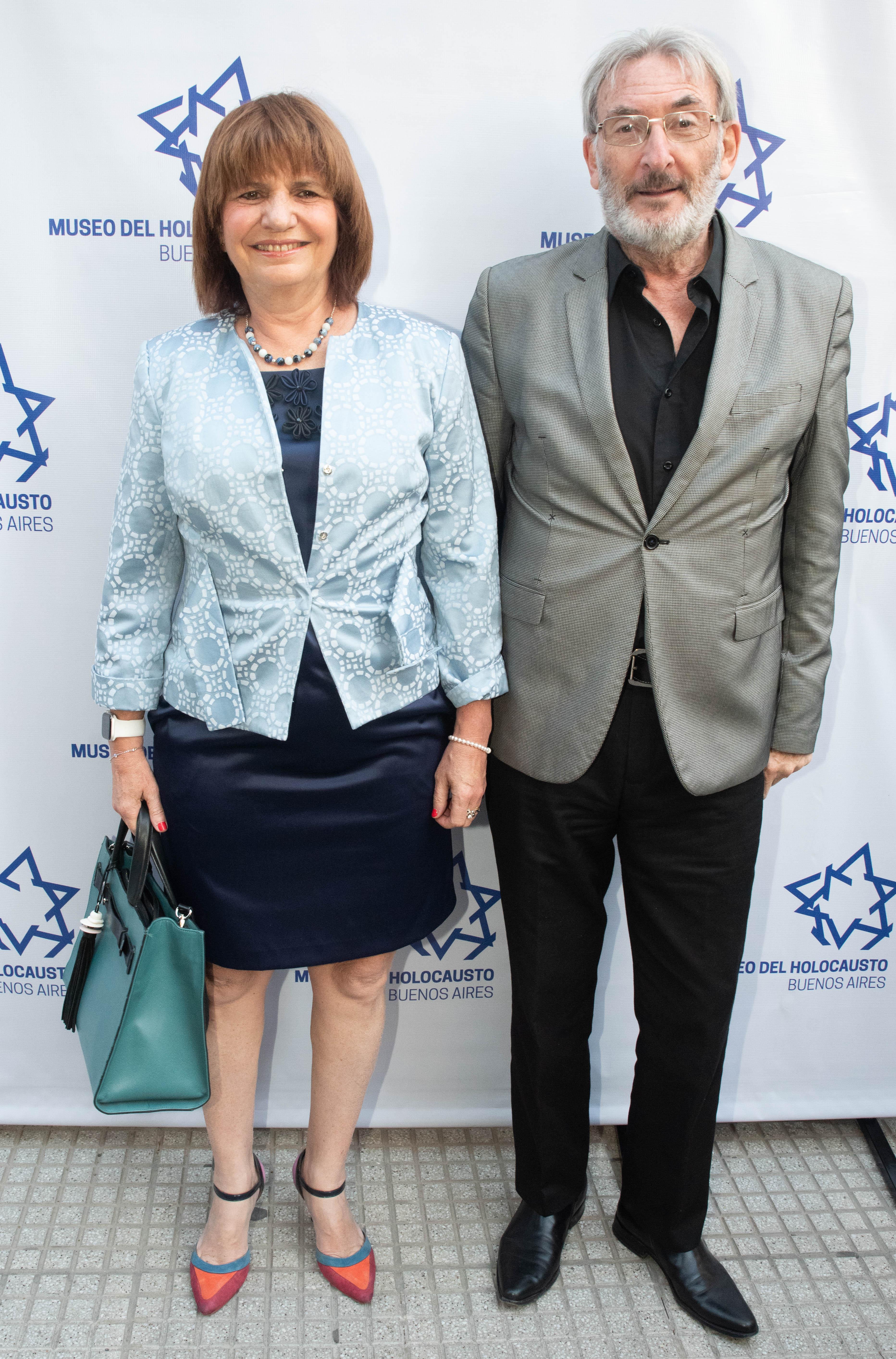 La ministra de Seguridad, Patricia Bullrich y Guillermo Yanko, vicepresidente del Museo del Holocausto
