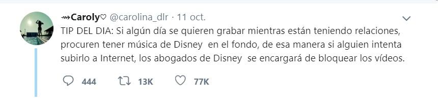 El comentario humorístico de una usuaria en Twitter que trae a colación un tema serio como es la difusión de contenido íntimo sin autorización.