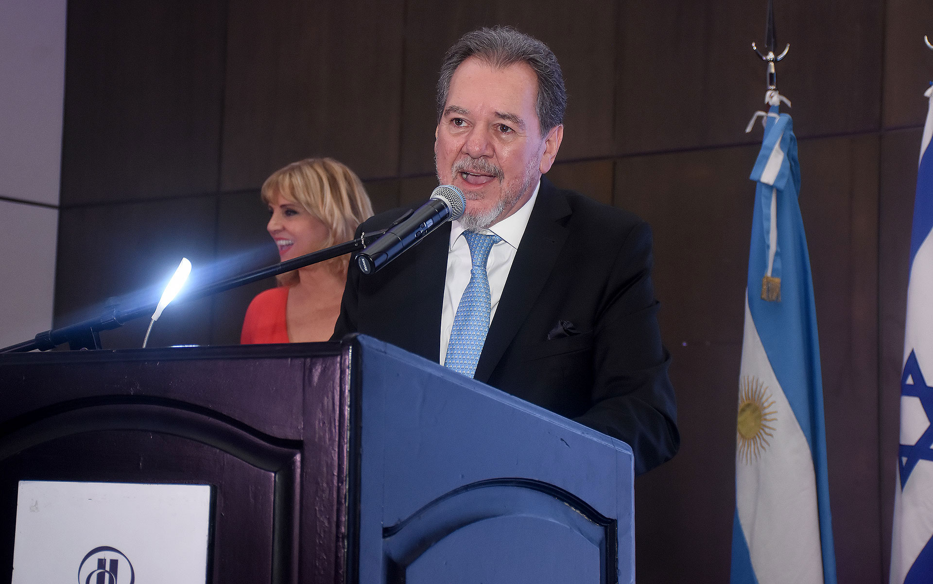 Mario Montoto, presidente de la Cámara de Comercio Argentino Israelí, durante su discurso en el Israel Business Cocktail 2019