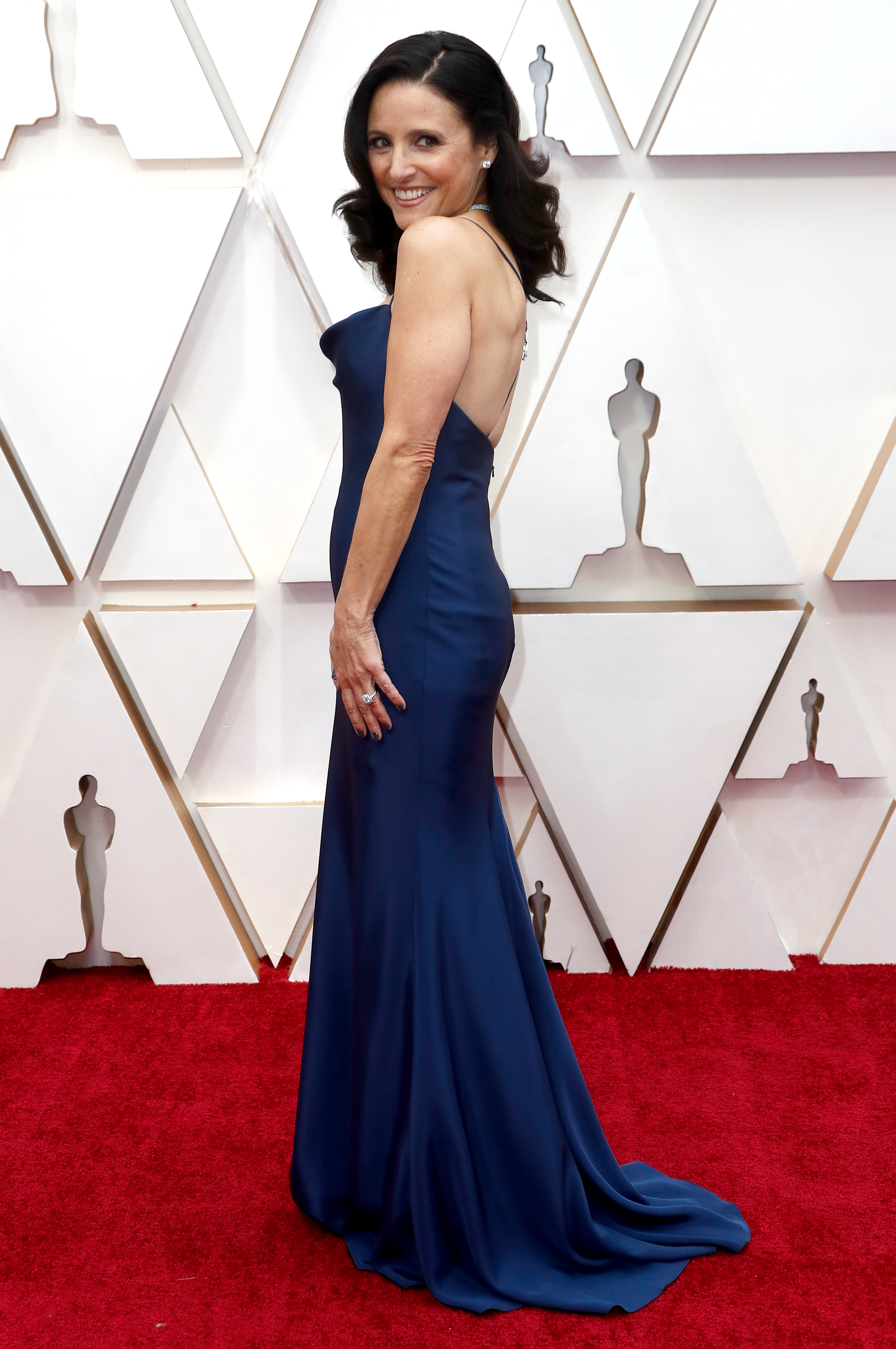 Julia Louis-Dreyfus optó por un vestido de seda con espalda al descubierto y escote estilo jabot en color azul noche by Vera Wang. Completó su outfit con una gargantilla de brillantes, anillos y pequeños aros con diamantes