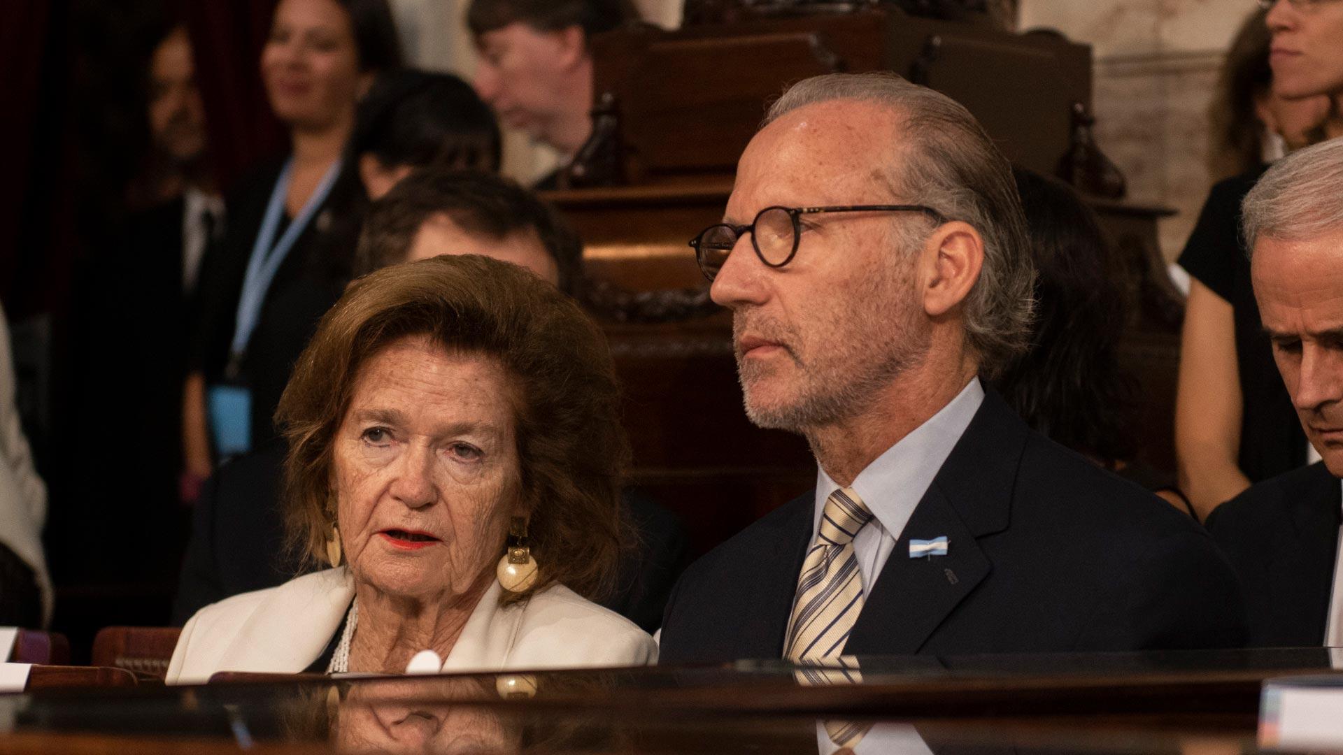 La jueza Elena Highton de Nolasco y Carlos Rosenkrantz, el presidente de la Corte Suprema de Justicia