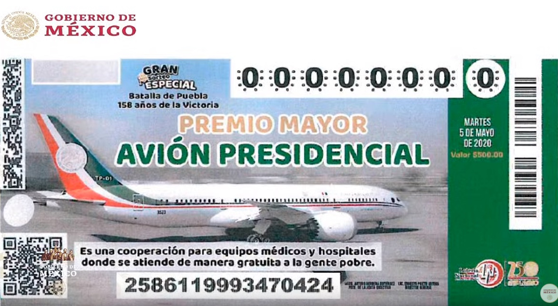 Así es el boleto de la rifa del avión presidencial en la Lotería Nacional -  Infobae