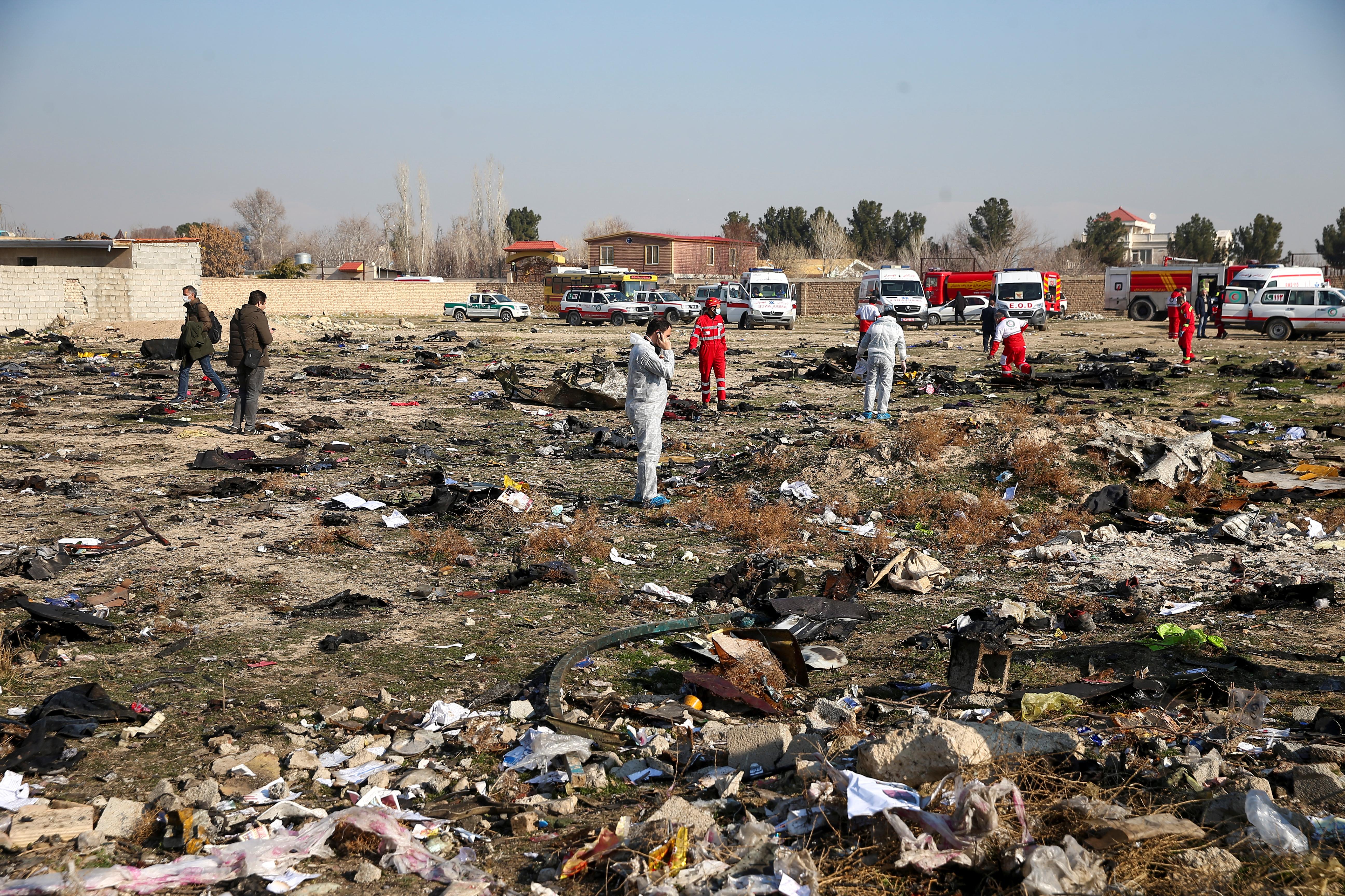 Ninguno de los 176 pasajeros y miembros de la tripulación sobrevivió, según fuentes oficiales iraníes (REUTERS)
