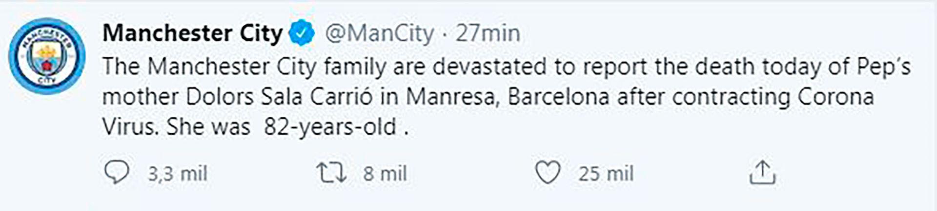 así anunció la noticia el Manchester City