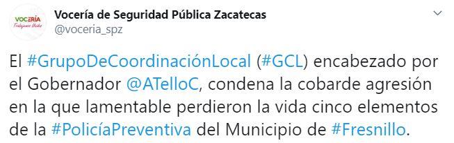 La Vocería de Seguridad Pública Zacatecas condenó el ataque contra los policías (Foto: Twitter/voceria_spz)