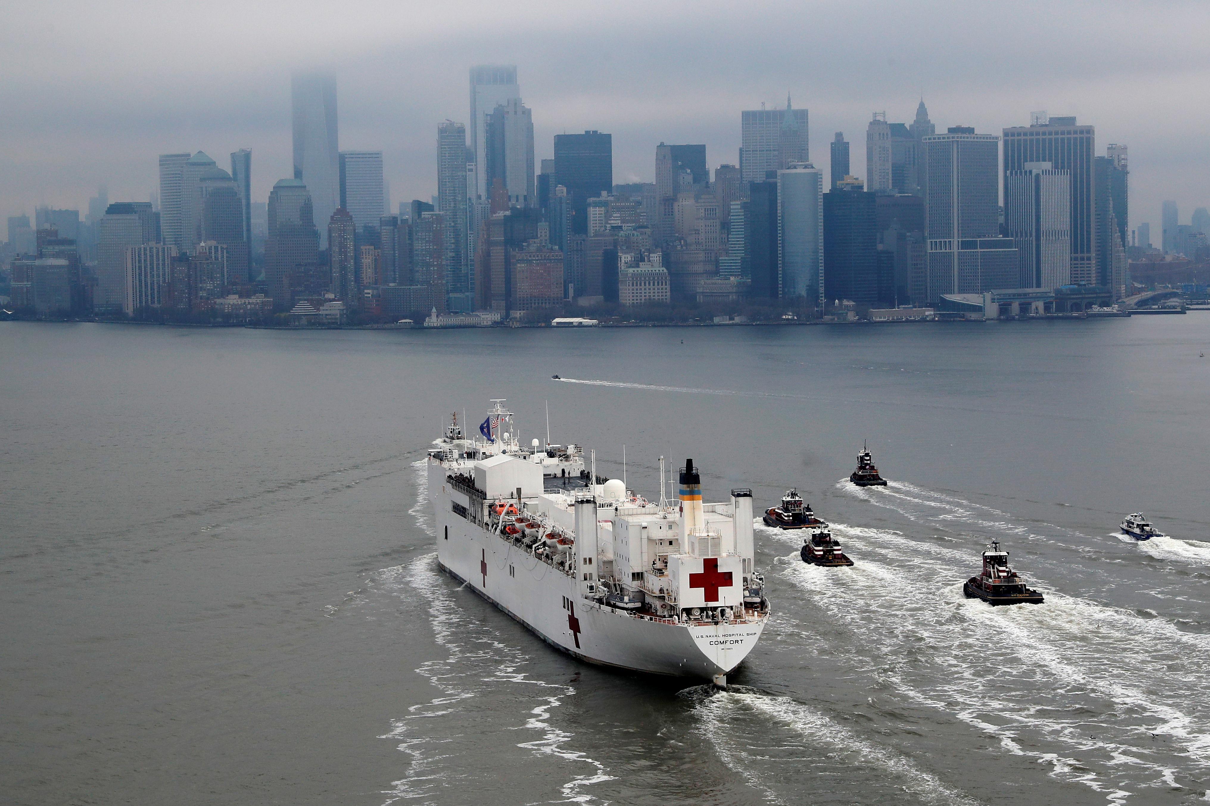 El barco no tratará a contagiados de Covid-19, sino que se encargará de pacientes con otro tipo de patologías y liberará así recursos de la ciudad para los afectados por la nueva enfermedad