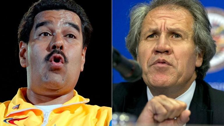 El secretario de la OEA, Luis Almagro, y el presidente venezolano, Nicolás Maduro