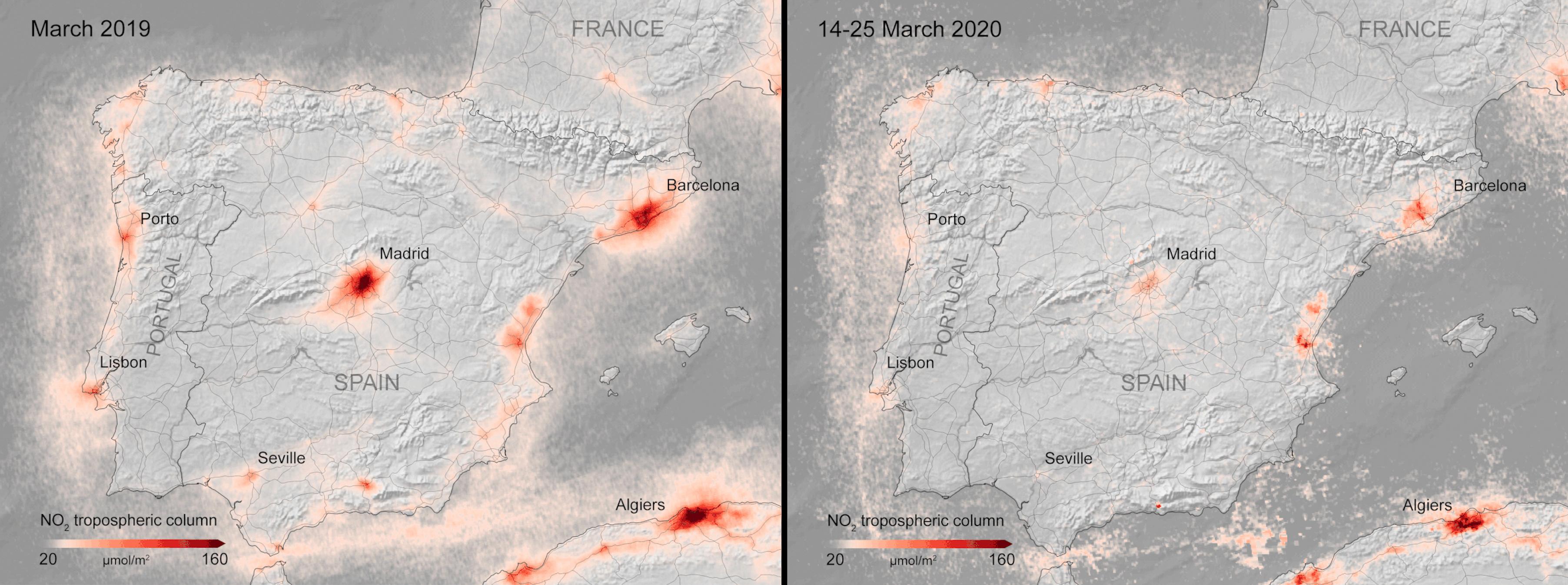Comparación de las concentraciones de dióxido de nitrógeno en España (Reuters)