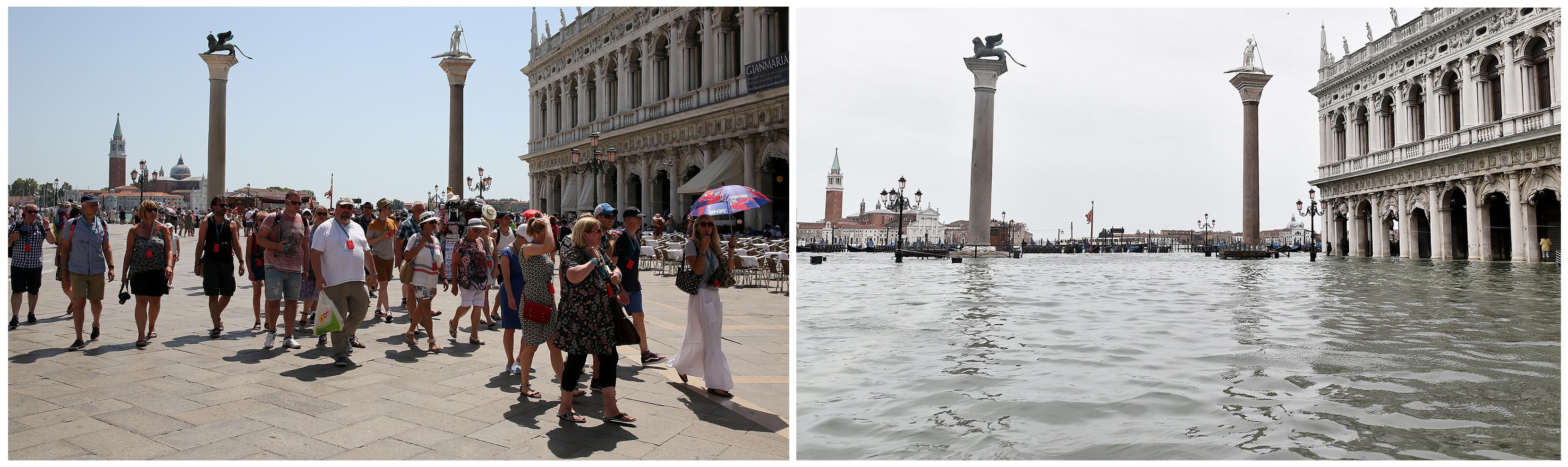 La Plaza San Marcos fue cerrada al público este viernes debido a la peor marea alta de los últimos 50 años en Venecia (REUTERS/Stefano Rellandini, Flavio Lo Scalzo)