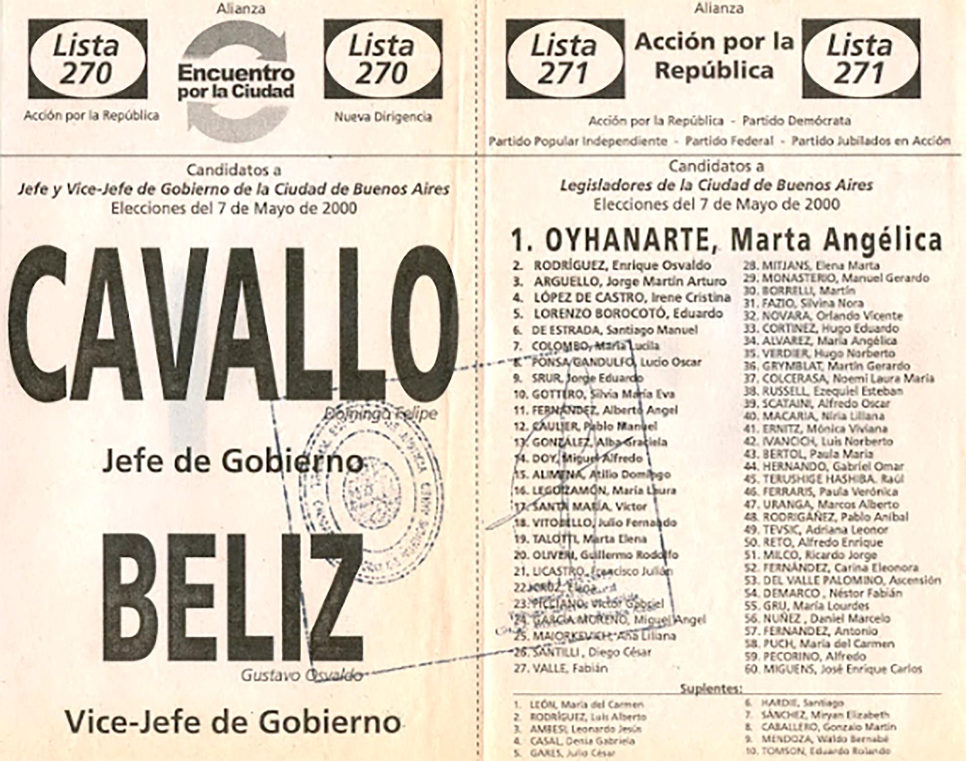 El único cargo electivo que ganó, antes de ser elegido Presidente, fue como legislador porteño en la boleta de la Alianza Encuentro por la Ciudad en las elecciones para jefe de Gobierno porteño. El binomio Domingo Cavallo-Gustavo Béliz perdió contra Aníbal Ibarra y Cecilia Felgueras, pero como obtuvo el 33 % de los votos.