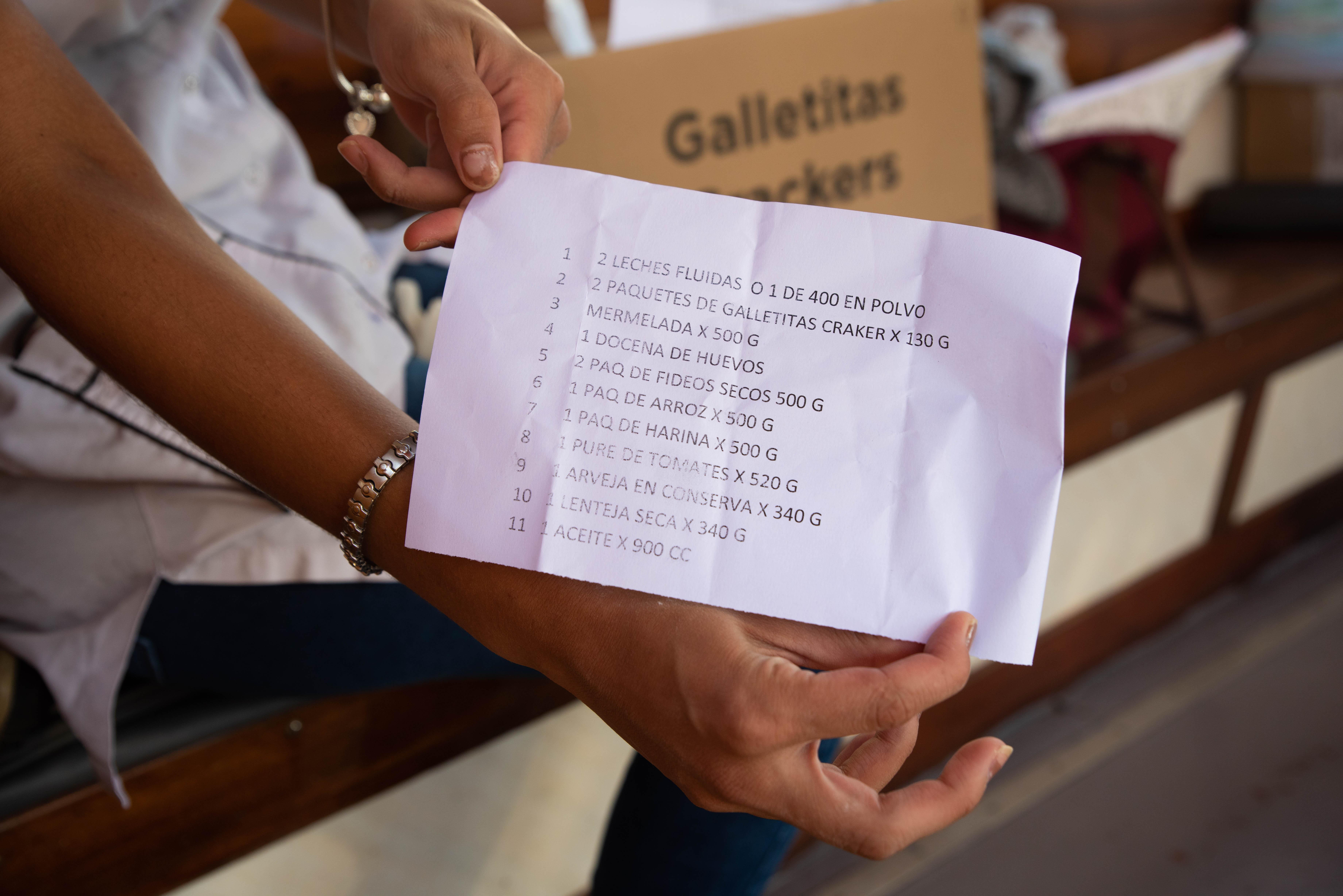 Listado de los alimentos secos que conforman el kit de alimentos entregado por los docentes. (Foto: Franco Fafasuli)