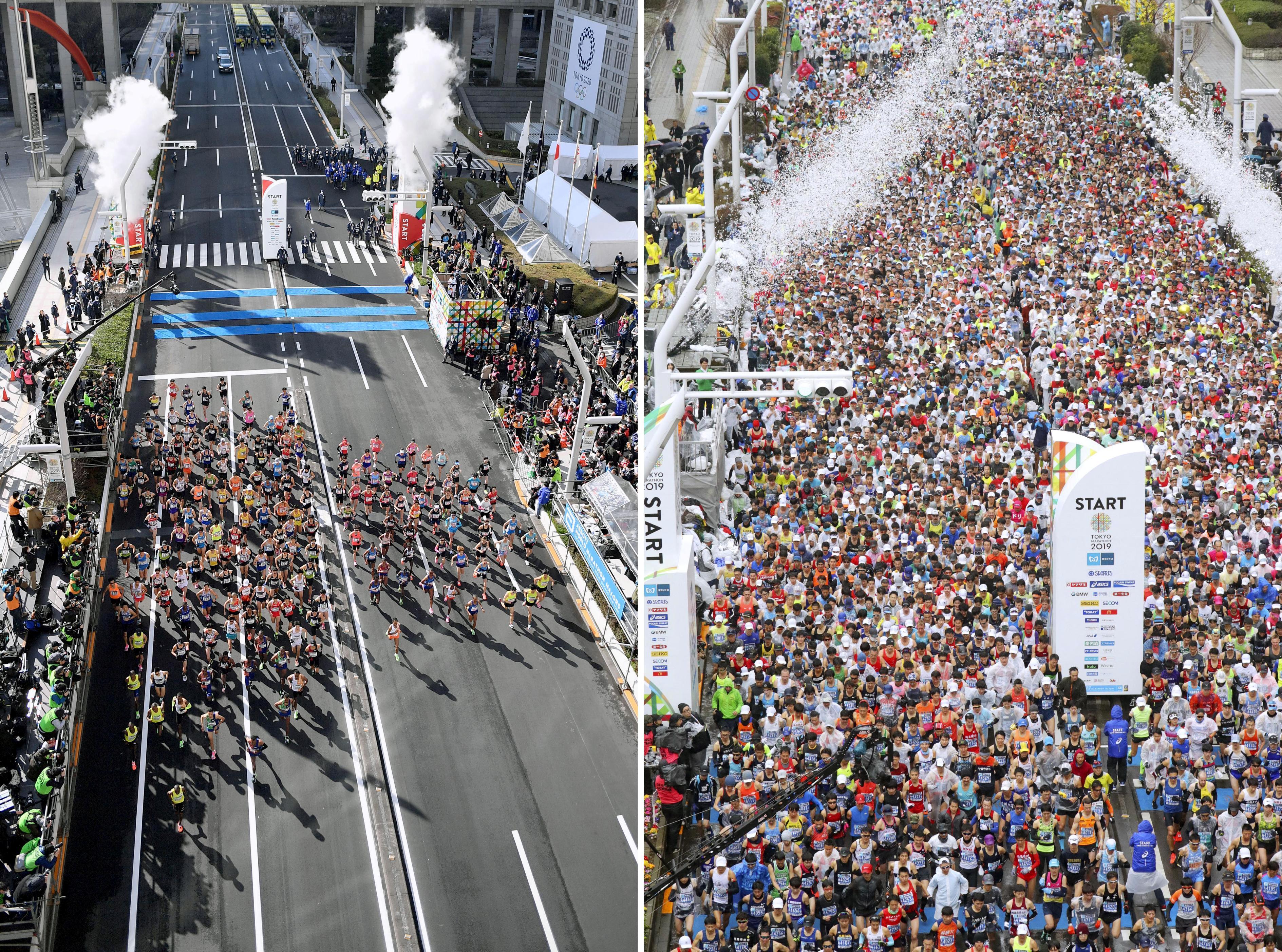 La partida de la maratón de Tokio en 2020 y en 2019 (Reuters)