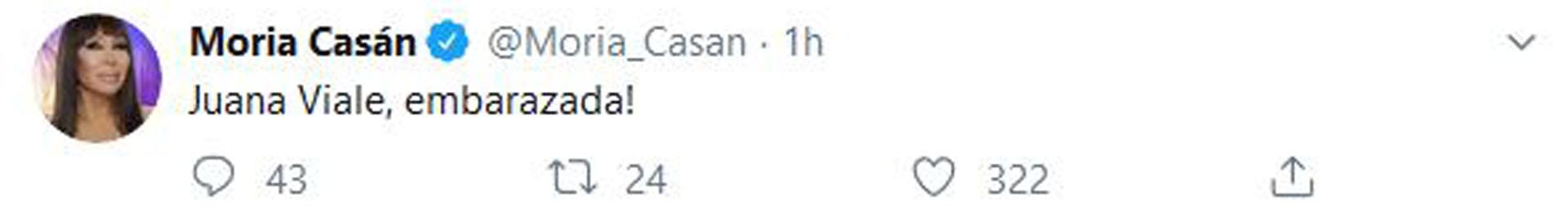 El tuit de Moria Casán sobre el supuesto embarazo de Juana Viale