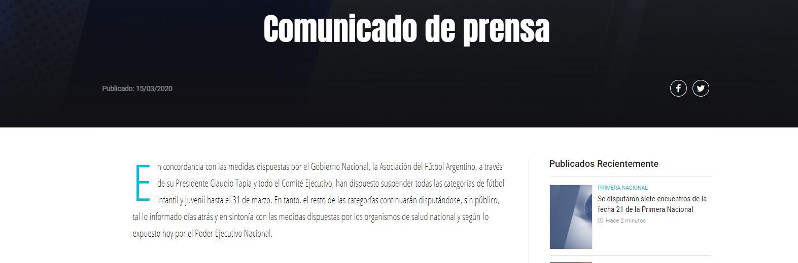 El comunicado de la AFA tras el anuncio de Alberto Fernández
