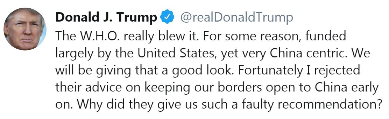 El tuit de el martes de Donald Trump contra la OMS