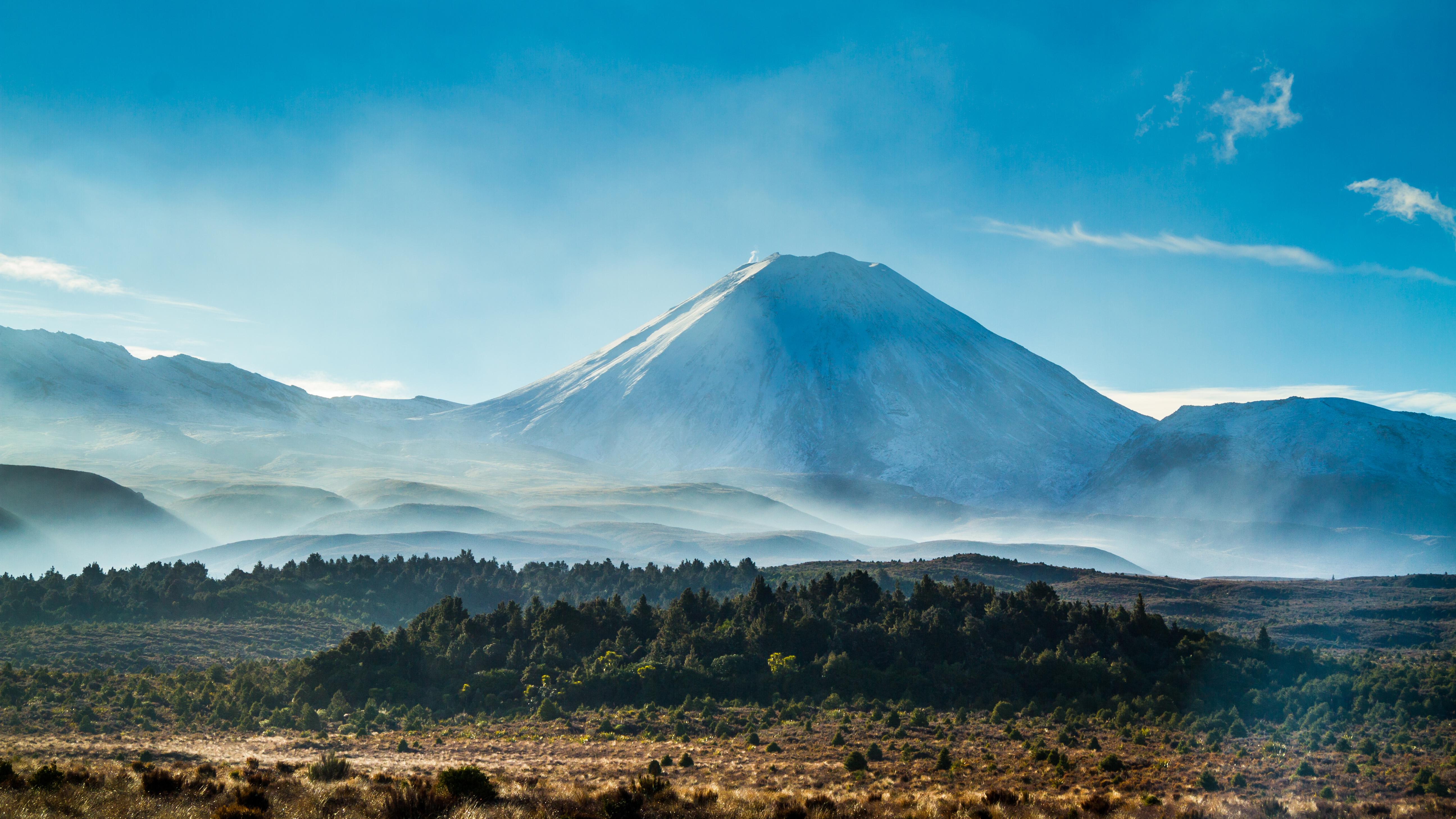 El monte Ruapehu, la montaña más alta de la Isla Norte, entró en erupción por última vez en 2007, según GeoNet