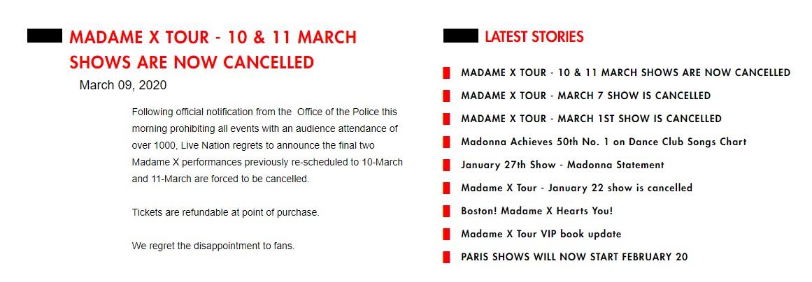 """La más reciente gira de la intérprete de """"Ray of light"""" ha tenido 18 cancelaciones en total, a causa de distintos factores (Foto: madonna.com)"""