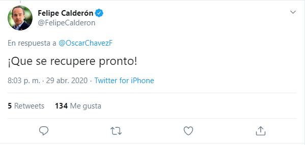 Felipe Calderón le mandó un mensaje al cantante (Foto: Twitter/ @FelipeCalderon)