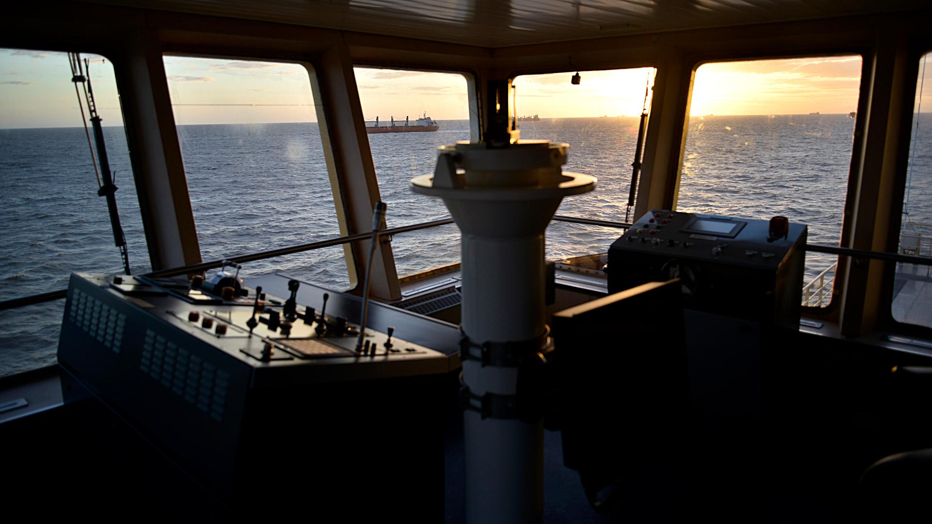 El puente de mando del buque