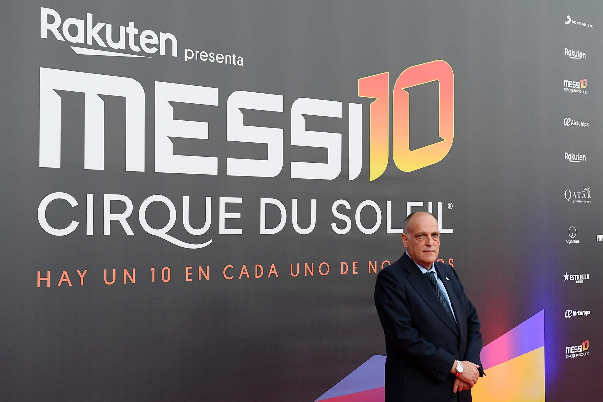 El presidente de la Liga española, Javier Tebas, estuvo en la presentación del show
