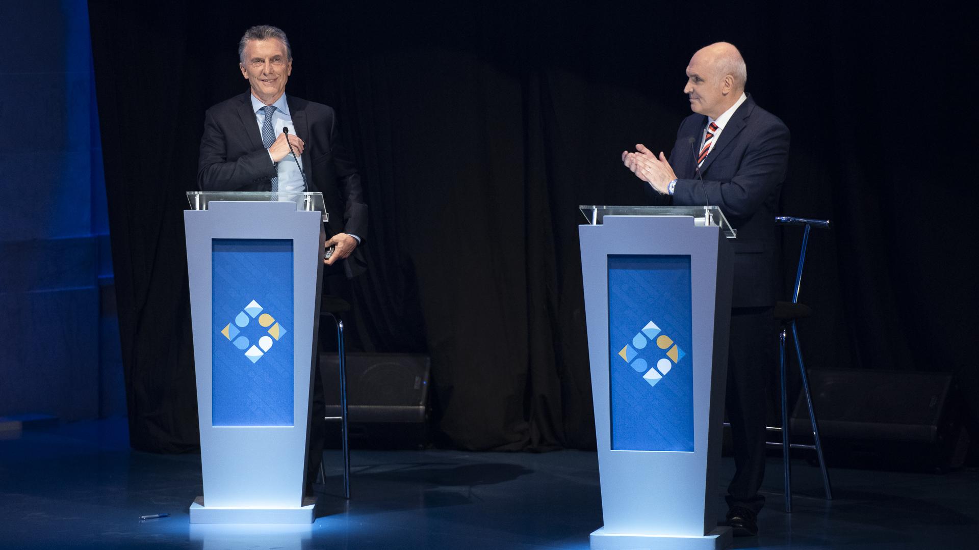 Mauricio Macri y José Luis Espert, durante el debate