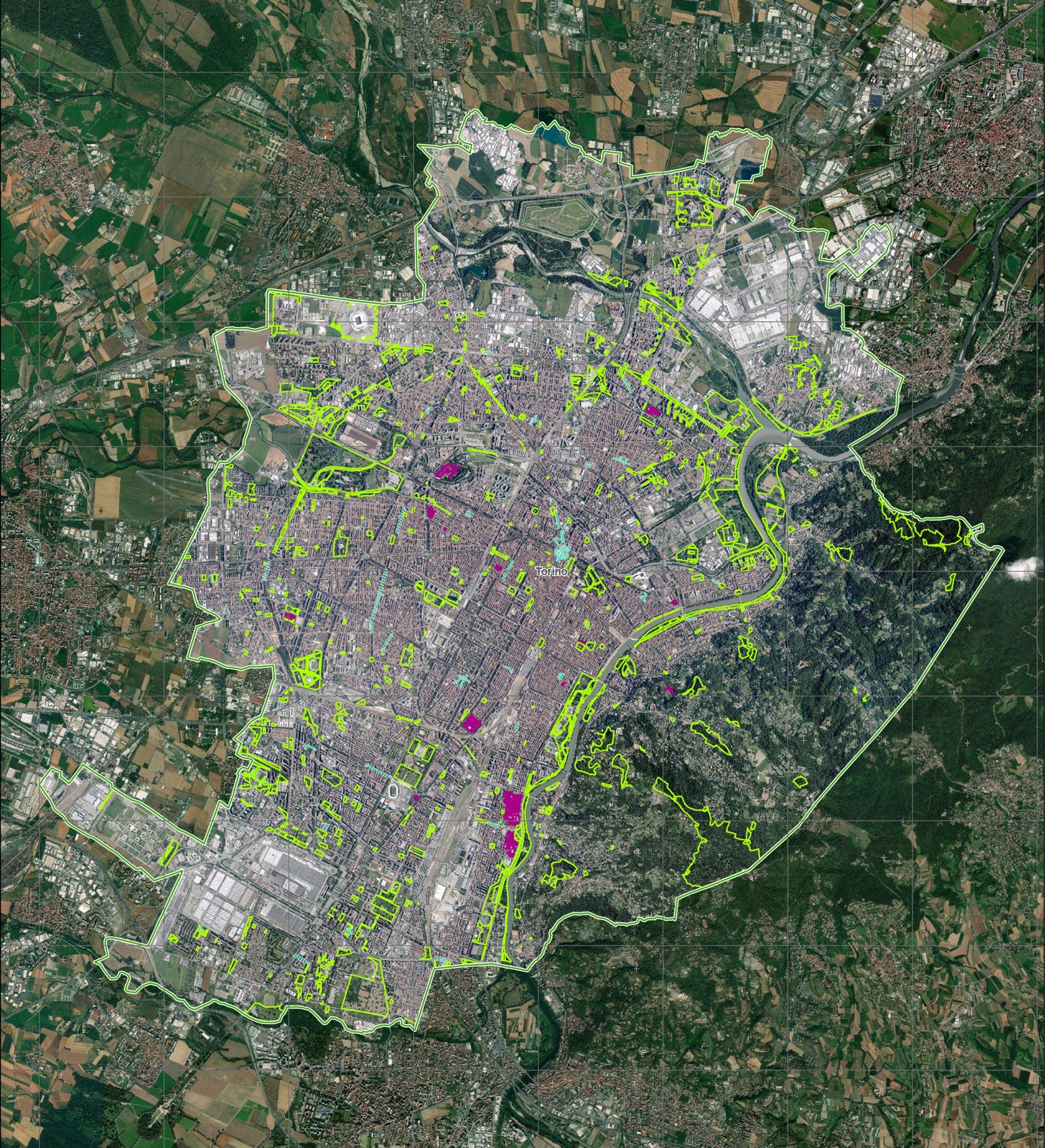 Esta imagen, registrada por el Servicio de Gestión de Emergencias de la UE, muestra a Turín, Italia, desde el espacio, con las áreas resaltadas en color púrpura para marcar los hospitales. Las secciones de color verde muestran las áreas deportivas y recreativas de toda la ciudad y los puntos turquesa son mercados al aire libre