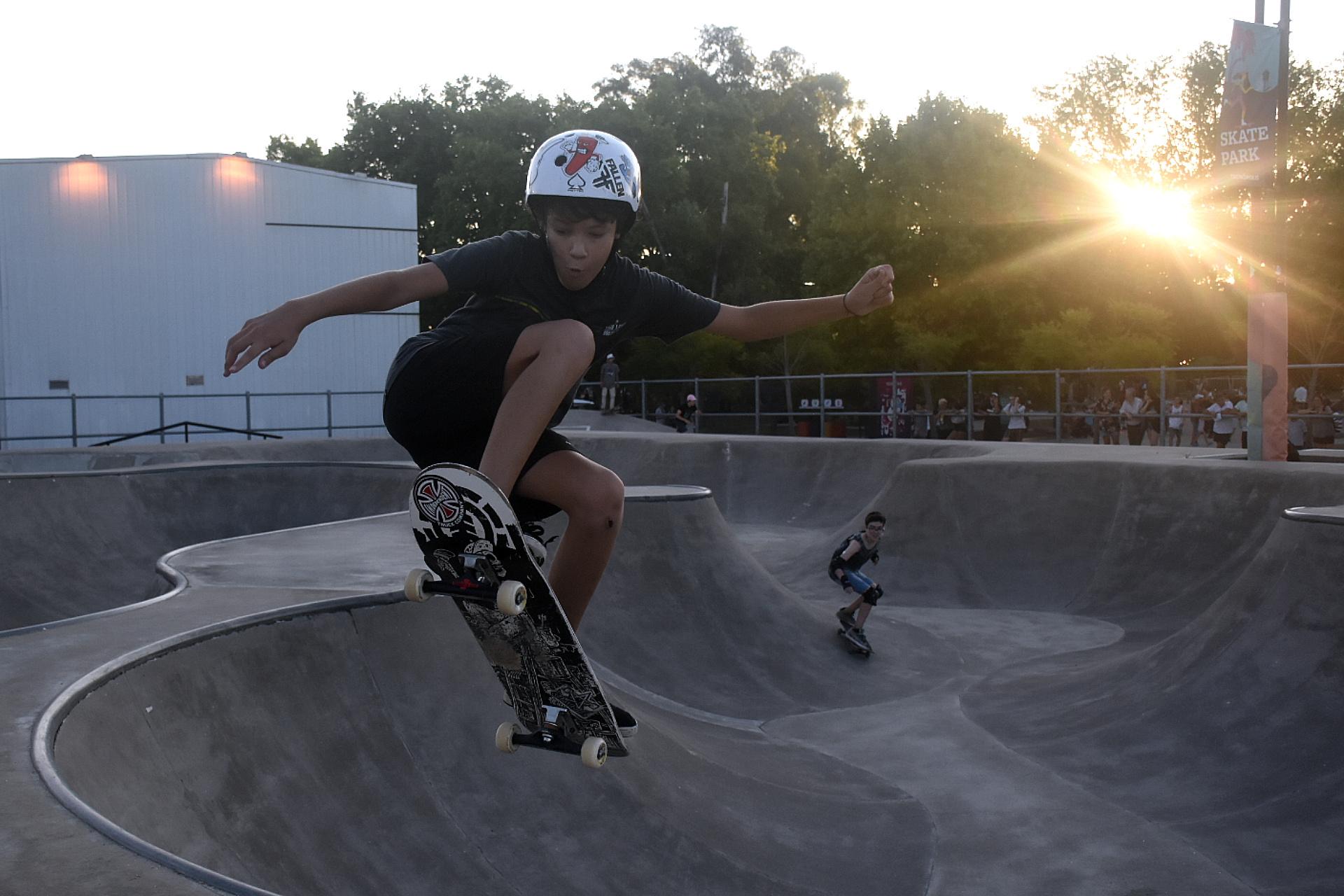 El skatepark, uno de los espacios más buscados en la tarde del sábado.