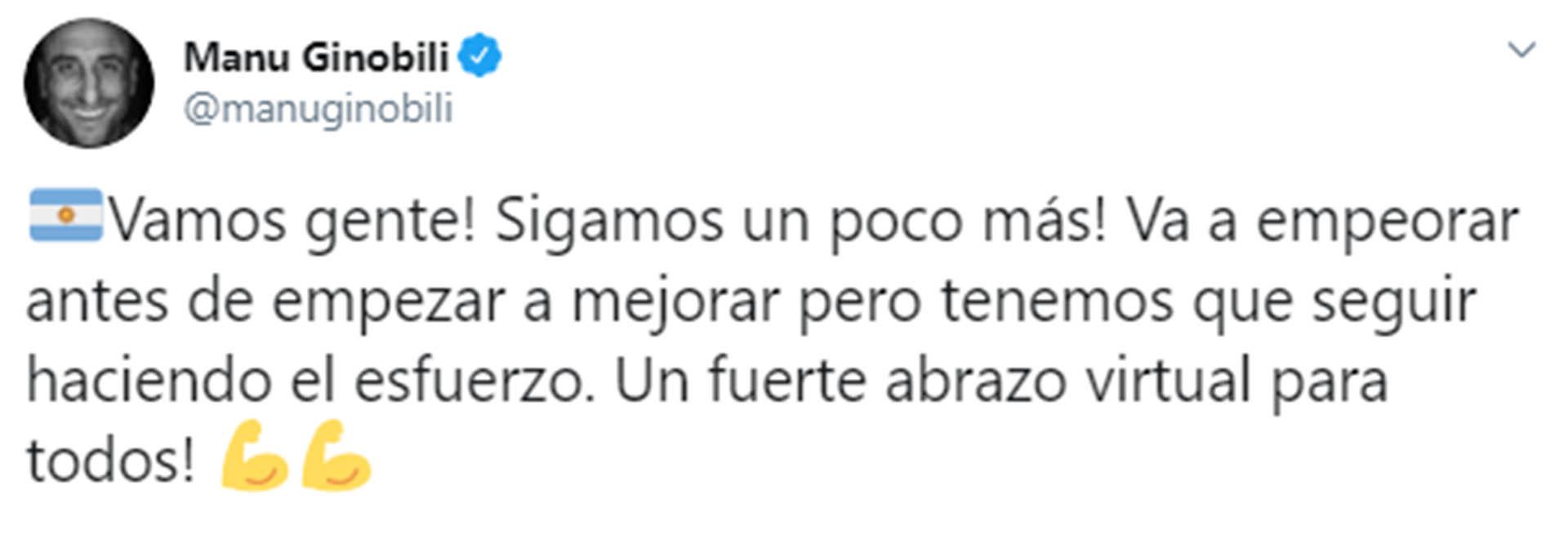 El mensaje de Manu Ginóbili hacia sus fanáticos en Argentina para concientizar sobre el coronavirus