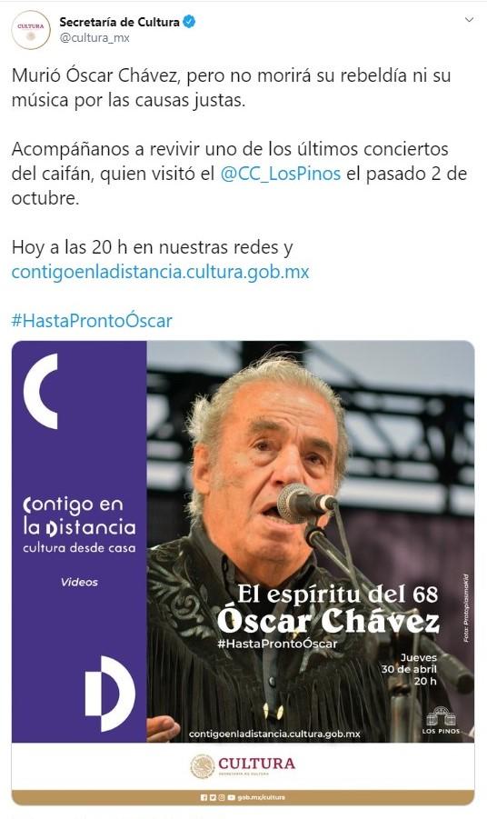 Uno de los últimos conciertos brindados por Óscar Chávez podrá ser visto online (Foto: Twitter@cultura_mx)
