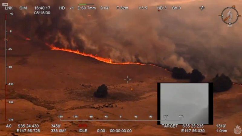 Vista aérea de un incendio en Ellerslie, Nueva Gales del Sur, en Australia