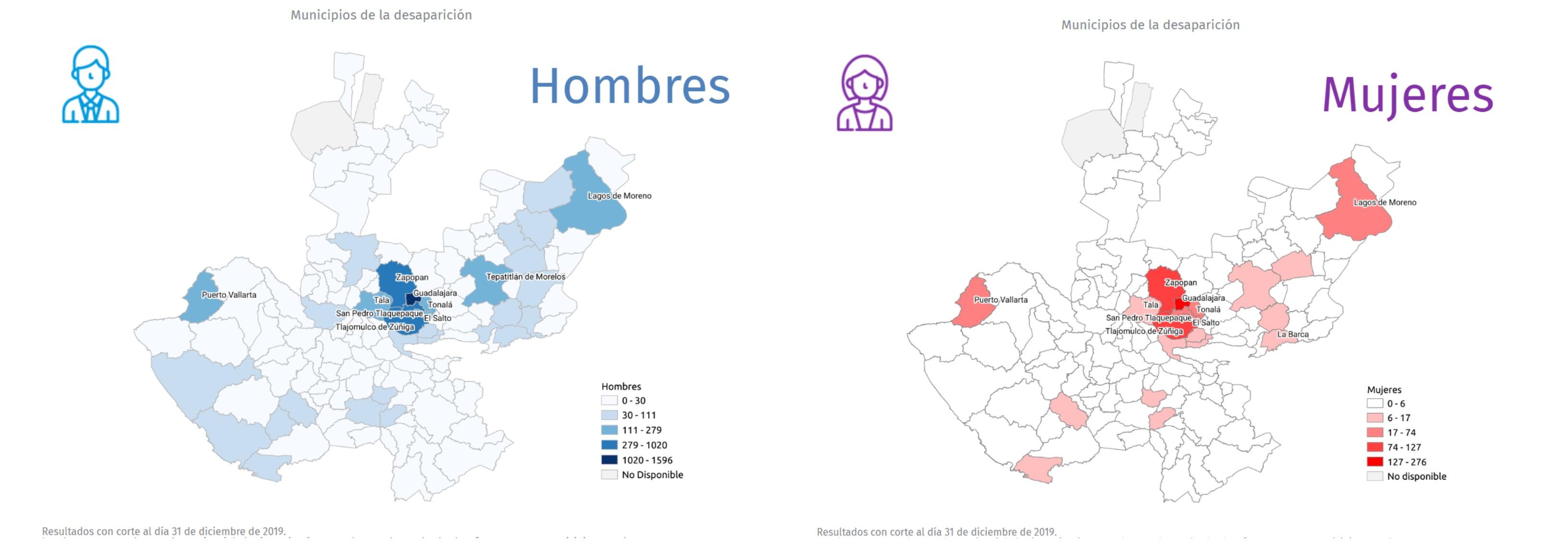 Mapas que muestran los municipios con mayor número de desaparecidos en Jalisco (Foto: sisovid.jalisco.gob)