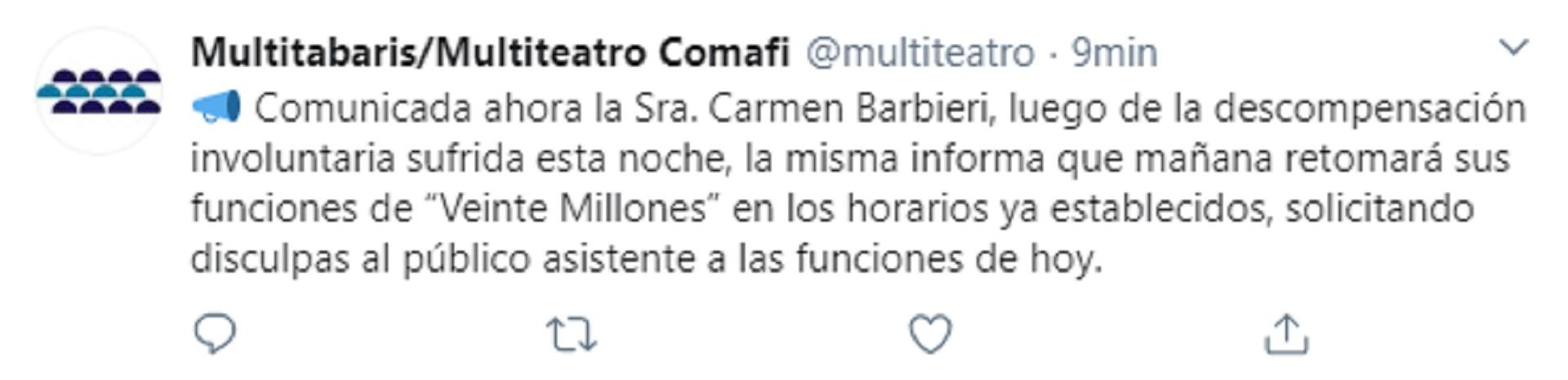 Tuit sobre la salud de Carmen Barbieri
