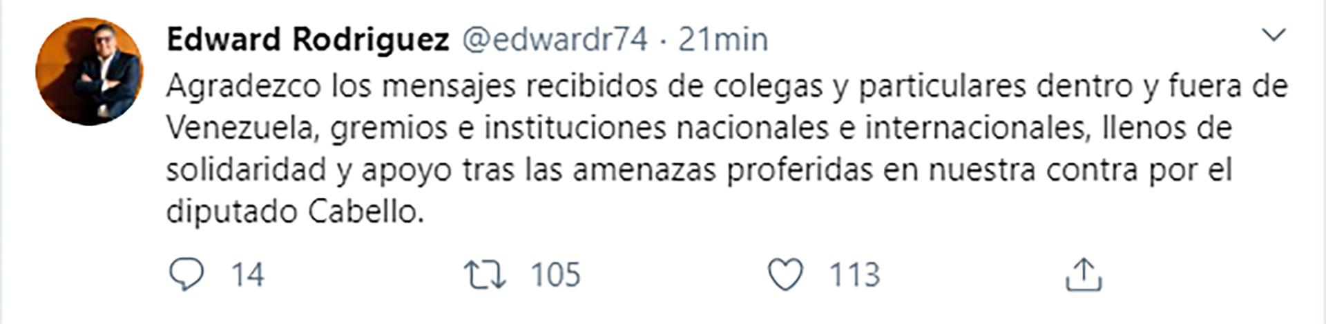 El tuit de Edward Rodríguez
